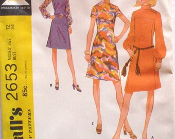70's High Neck Yoked Dress Sewing Pattern - McCall's 2653 - Size 12, Bust 34, Uncut