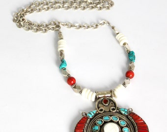 Native inspired nepalese Handcrafted Pendant Turquoise Red coral Conch shell inlay Buddhist jewelry layering Bohemian necklace by Inali