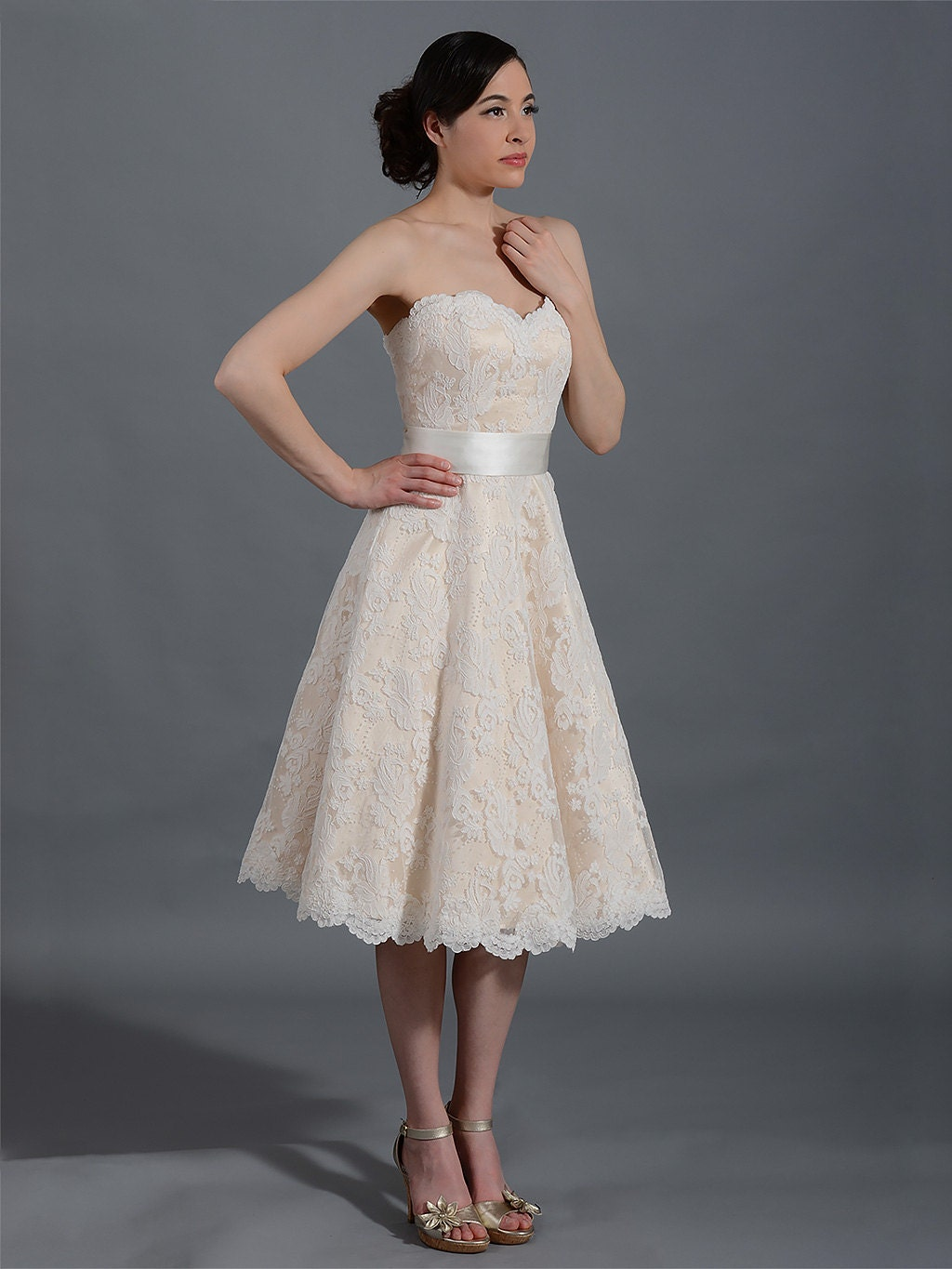 Champagne short lace wedding dress strapless alencon lace