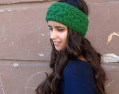 SALE Hand Knitted Headband, Ear Warmer Headband, Wool, Green, Cable Knit Headband, Gift for Women, Winter Accessories, Ear Warmer