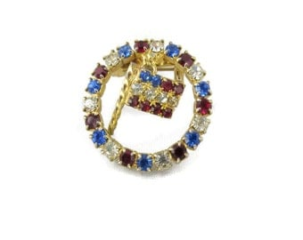 patriotic rhinestone circle brooch, dangling flag, red, white, blue, fourth of July, flag day, vintage jewelry