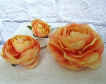Wedding hair accessories, Coral peach flower hair pins, Bridal hair flowers, set of 3