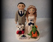 Wedding Cake Topper, Custom, Personalized, Polymer Clay, Bride and Groom, two Pets, Date Plaque, Mascot, Wedding/Anniversary Keepsake