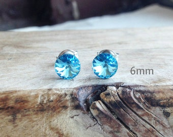 Get 15% OFF - 6mm Swarovski Crystal, Aquamarine Light Blue Silver Surgical Steel Post Earrings - Labor Day SALE 2017