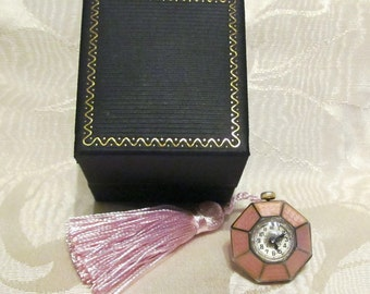 Sterling Silver & Pink Guilloche Watch Fob Art Deco Pendant Chatelaine Goering Swiss Watch 15 Jewel Working Extremely RARE MINT CONDITION
