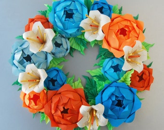 Blue Orange Rose Origami Paper Wreath With Cream Lilies, Mother's day flower rose wreath