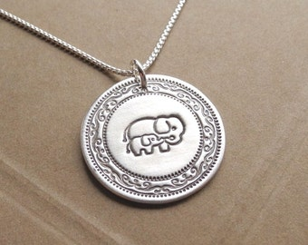 Mother and Baby Elephant Necklace, New Mom Necklace, Fine Silver, Sterling Silver Chain, Made To Order