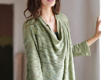 Olive Cardigan Light Green Loose Jacket  Middle Long Sweater  Olive Gray Cardigan