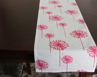 """Table Runners in Premier Prints Pink Dandelions 72"""" x12""""."""