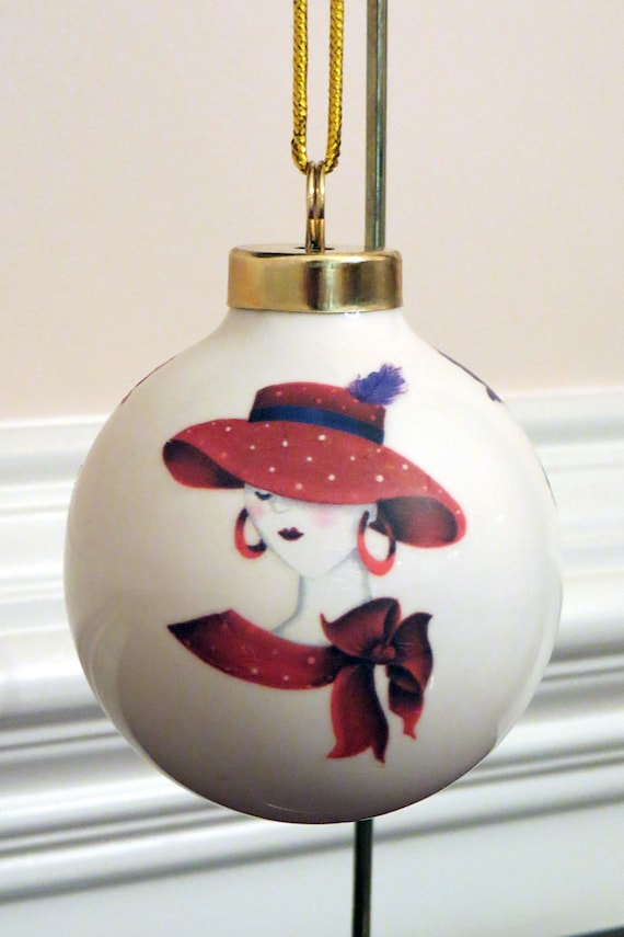 Red hat lady ornament porcelain christmas