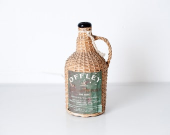Vintage wicker covered bottle, vintage wine bottle, demi john,
