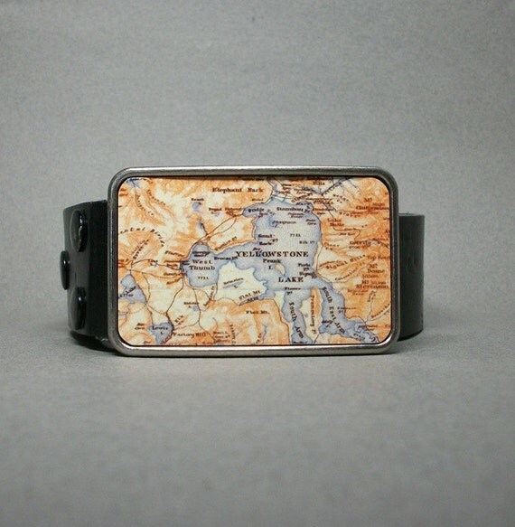 Belt Buckle Yellowstone National Park Lake Map Wyoming Unique Gift for Men or Women