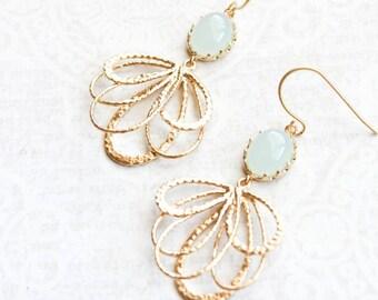 Seafoam Mint Glass Earrings Gold Filigree Earrings Long Dangle Earring Pretty Modern Gold Feather Bridesmaid Gift for Women Nickel Free