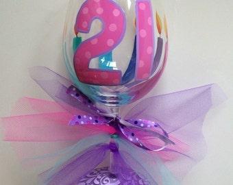 Pink and purple 21st Birthday wine glass