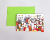 Holiday Card - Folded greeting card - vivid photo of fabric modern handmade colorful dolls characters crowd , Blank Notecard with  envelope
