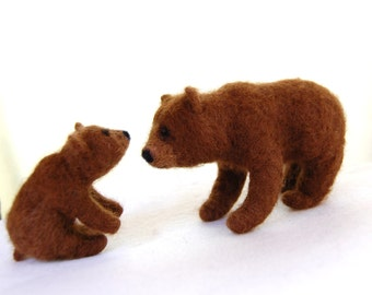 Needle Felted Bears- Brown Bear With Cubs- Felted Animals- Bear Toy- Felt Animals- Decor- Woodland Animals- Grizzly Bear Art- Bear Sculpture
