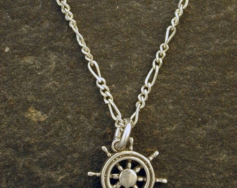 Sterling Silver Ships Wheel Helm Pendant on Sterling Silver Chain.
