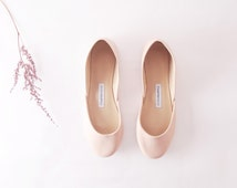 Nude Ballet Flats | Ballerina Shoes | Slip Ons | Leather Flats | Bridal Ballerina Flats | Nude...made to order