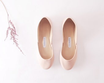 Nude Ballet Flats | Ballerina Shoes | Slip Ons | Leather Flats | Bridal Ballerina Flats | Nude...made to order