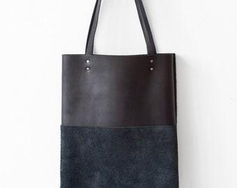 Xmas SALE Black Suede/leather Tote bag No.Tl- 1023