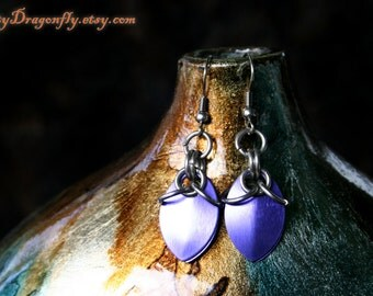 Purple Drop Scale Mail Earrings