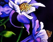 Flower ACEO Giclee Print - Purple COLUMBINE - Floral Botany SFA Safyre Studios