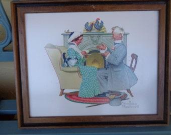 "Vintage 12"" x 14.5"" Framed Norman Rockwell Framed Art Print High Tea Eldery Couple Man and Woman Vintage Wall Decor RA"