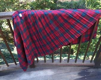 Vintage Scottish Dark Red Burgundy Green Navy Blue Kilt Tartan Plaid 100% New Wool Fabric Pleated Skirt Wrap Made in Scotland OC