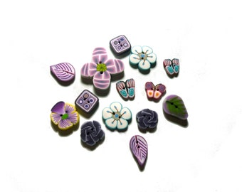 Flower leaf handmade BUTTONS - set of 14 - polymer clay - purple violet amethyst DIY supply - flower DIY supplies, for sewing, crocheting