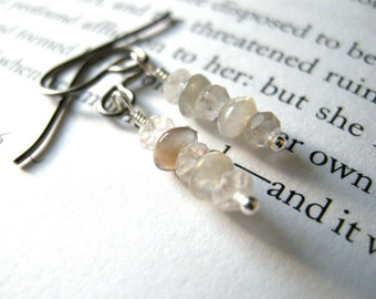 Fog Gray Glow Niobium Earrings - Gray Moonstone + Pale Rose Quartz HYPOALLERGENIC / Small Dainty Moody Coastal Winter Jewelry Sensitive Ears