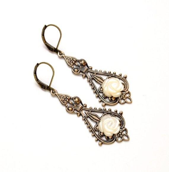 Victorian Earrings, MOP Rose Earrings, Steampunk Earrings, Dangle Earrings, Mother of Pearl, Steampunk Jewelry by Victorian Curiosities