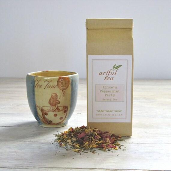 Alice's Peppermint Party Herbal Tea • 2.5 oz. Kraft Bag • Loose Leaf Blend • Peppermint, Ginger, Apple, Almond & Rose