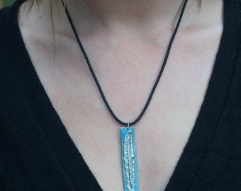 "Feather Pendant - glows in the dark - New Works -  ""Luminance series"""