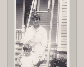 Always Your Big Sister- 1910s Antique Photograph- Old Photo- Teen Posing With Little Girl- Roof Ladder- Picture- Snapshot- Paper Ephemera