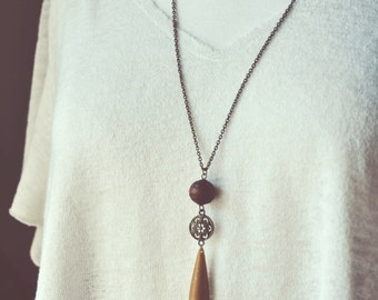 boho medallion teardrop necklace.