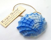 Blueberry SEA SHELL SOAP on a Rope - Blueberry Oil - Hemp Soap on a Rope - Nautical Collection - Ocean Blue - Valentine's Day