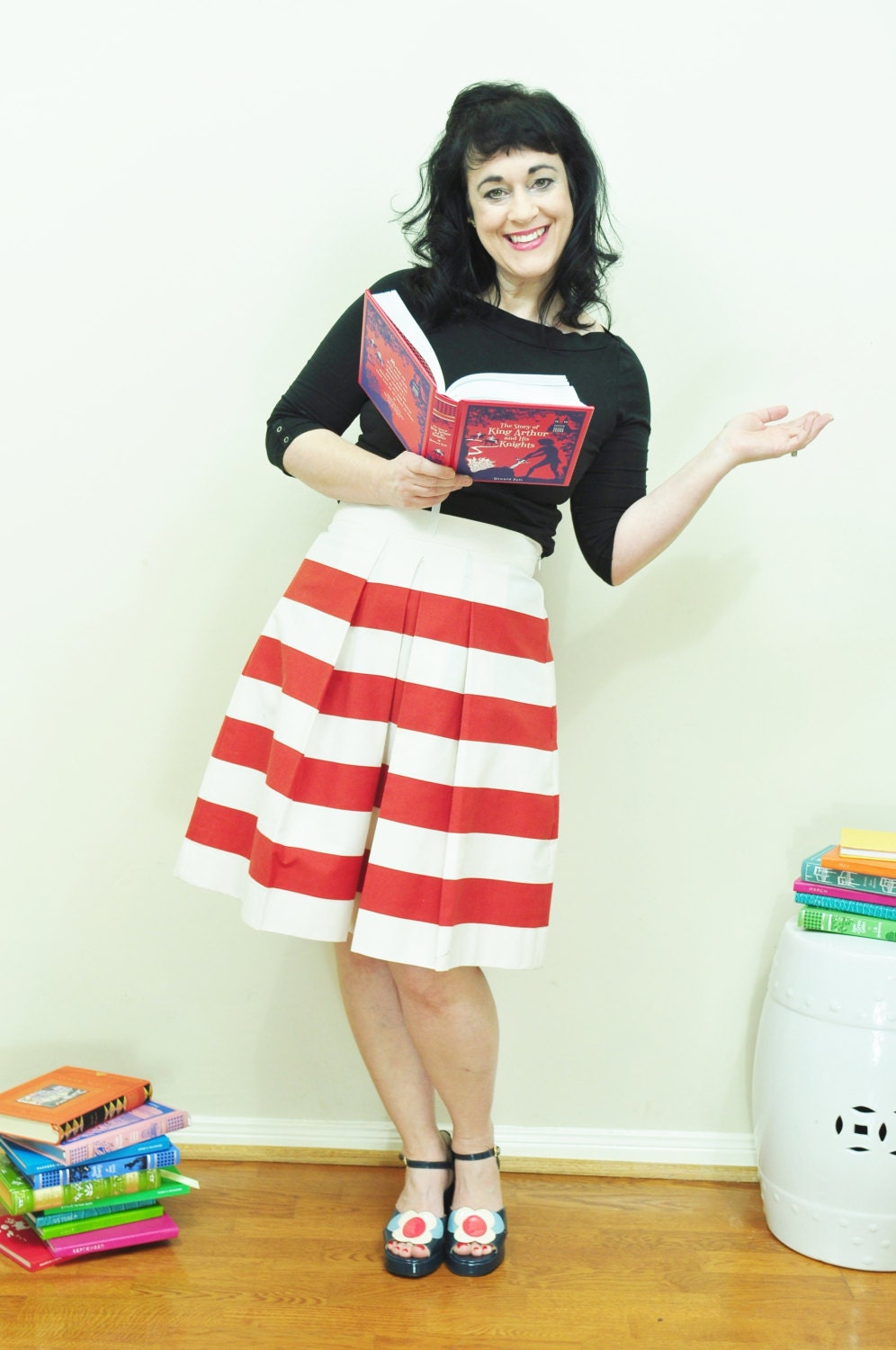 Red and White Striped Skirt Custom made full gathered and