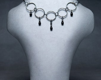 Rings Choker black/steel