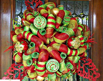 Lime and Red Festive Christmas Mesh Wreath