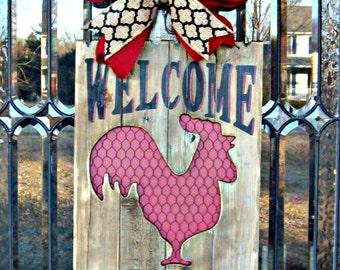 Welcome To The Coop Wood Rooster Door Hanger