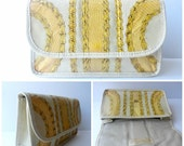 RESERVED for ATXAP25 Vintage Carlos Falchi 1970s Snakeskin Clutch|Vintage Snake Skin Clutch Bag|Small Leather Handbag|Yellow Snake Skin Clu