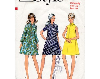 1960s Maternity Dress Pattern Style 2651 Vintage Sewing Pattern A Line Zip Front Tent Dress Bust 34