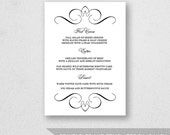 Wedding Menu Template Printable - INSTANT DOWNLOAD - For Word and Pages - Mac and PC - Flourish - 5 x 7 inches