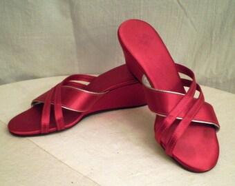 Vintage 1940's Shoes Burgundy Satin Slippers Wedge Burgundy  Daniel Green Old Hollywood  size 7 half