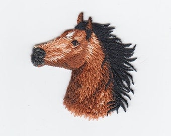 Horse Head Embroidered Iron On Applique Facing Left