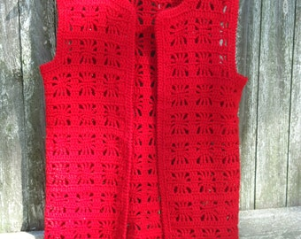 Long Delicious Red Crochet Vest- Small
