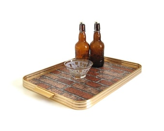 Rustic Urban Ottoman Tray Metal & Wood Barware Serving Tray, Retro Faux Brick Inlay, Unique 1960s Home Bar Serving Tray