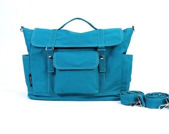 DYLAN // Teal / Lined with Beige / 074 // Ship in 3 days // Backpack / Diaper bag / Shoulder bag / Tote bag / Messenger Bag / Gym bag