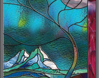 Stained Glass Window  - Stormy Mountain  - Leaded Glass Panel Wave Tree Moonlight
