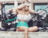 KAAWA High Waist Retro Boho Bikini Bottoms Cyber Monday, Hi Waisted Bikini Cheeky Moderate Peace of Paradise